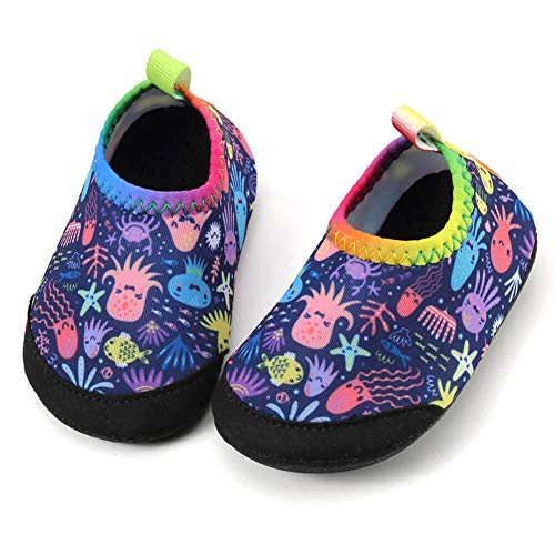 Panda Software Baby Boys Girls Water Shoes Infant Barefoot Quick -Dry Anti- Slip Aqua Sock for Beach Swim Pool Octopus-Sea World/12-18 Months M US Infant