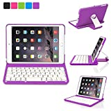 Luxmo Aluminum 360 Swivel Rotating Stand Case Cover Built-in Bluetooth Keyboard for Ipad Mini & iPad Mini with Retina Display Purple