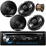 Pioneer DEH-S4000BT Car Bluetooth Radio USB AUX CD Player Receiver - Bundle Combo With 4x Pioneer TSG1620F 6.5 300W 2-Way Black Car Coaxial Audio Speakers + Enrock 50 Ft 16 Gauge Speaker Wire