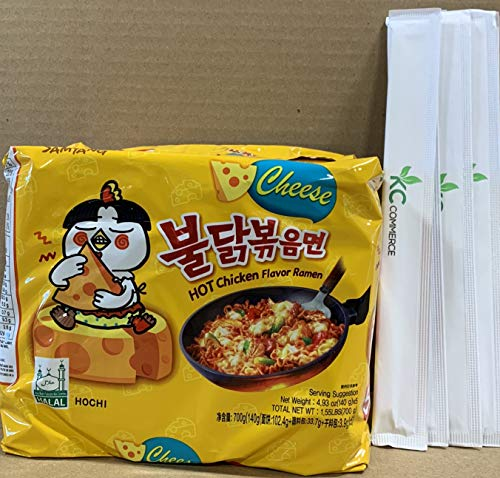 Kimchi Flavor - Samyang Spicy Hot Chicken Flavor Ramen Spicy Noodles 140g 5 pack with Chopsticks Bundle By KC Commerce (Cheese)