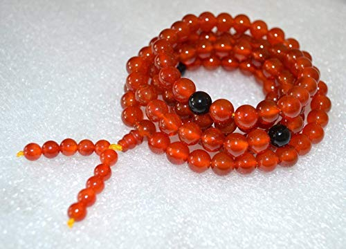 (Red Carnelian Mala Beads Necklace Tibetan mala w/black Onyx spacers 8mm 108 Buddhist prayer beads Energized Yoga Jewelry Meditation mala w/Velvet or 100% Jute pouch - US Seller)