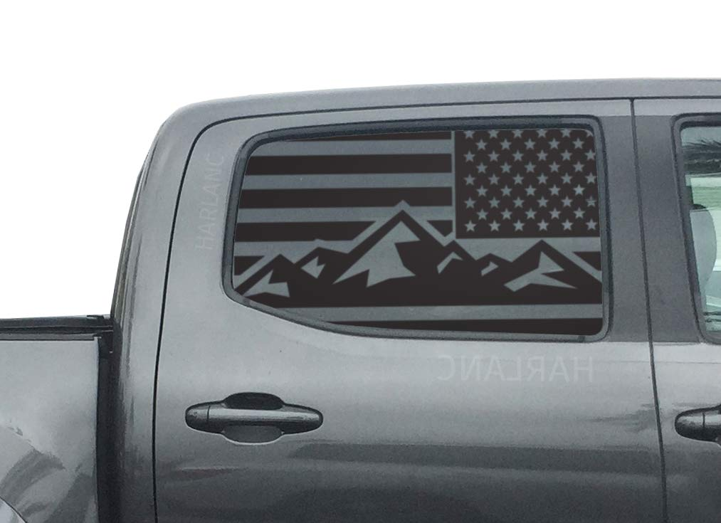 Toyota Tacoma - USA Mountain Flag Decals in Matte Black for side windows fits 3rd Generation 2016-2019 - TP9A