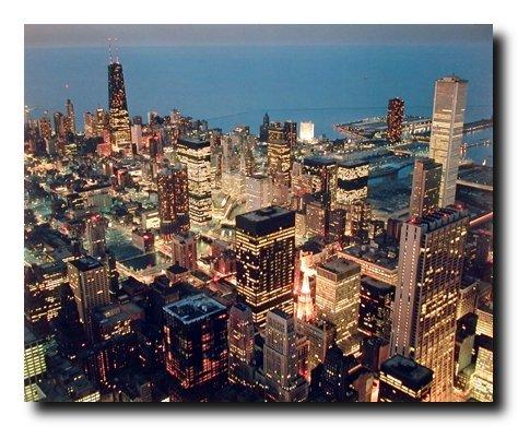 Chicago Skyline Nightscape City William Wilson Wall Decor Art Print Poster
