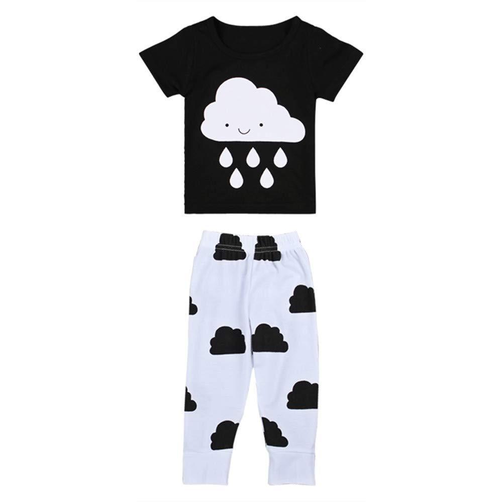 Cloud Black Tee Shirt and White Pants Short Sleeve for Baby Infant Boy Pajamas Set