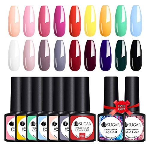 UR SUGAR Gel Nail Polish Set Bright Candy Sweet Color For Spring and Summer 18 Color Gel Nail Polish with No Wipe Base and Top Coat Soak Off Gel Nail Polish Kit Manicure Starter Set Gift Collection