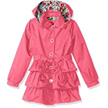Pink Platinum girls Big Girls 3 Tiered Ruffled Trench W/Satin Lining