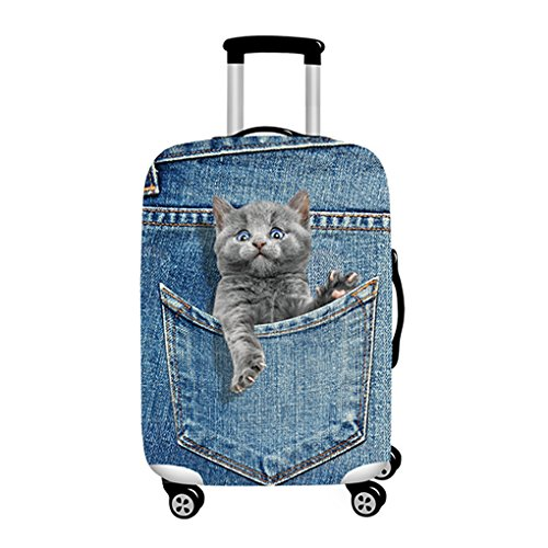 Denim 3D Cute cat Dog Styles Washable Print Luggage Cover Protector Suitcase Cover Carry On Cover with Zipper Fits 18-32 Inch Luggage for Holiday Travel and Great Gift Idea (Cat Grey, M) by LANGUGU