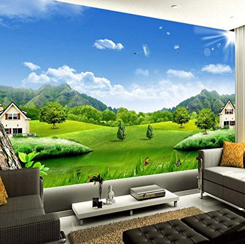 ATR Custom 3D Wallpaper Blue Sky White Clouds Village House Nature Landscape Murals Not Woven Straw Texture Mural Wallpaper 3D, (W) 200X (H) 140Cm