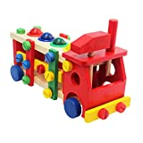 Signstek 3D Mosaic Wooden Puzzle Educational Toys Dismounting and Assembling Screw Car
