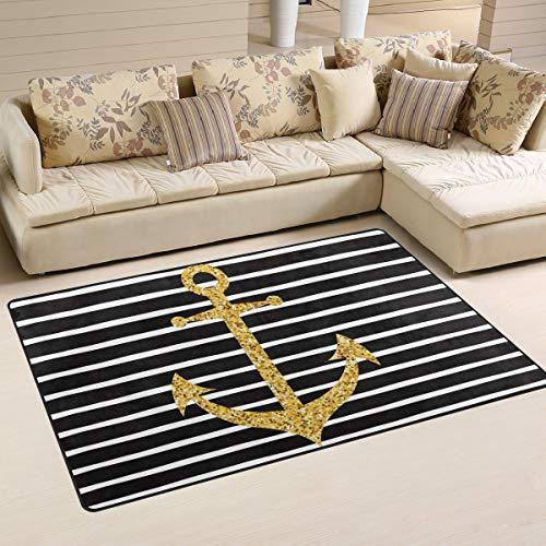 Gold Glitter Stripe Anchor Non Slip Area Rug for Living Dinning Room Bedroom Kitchen, 4' x 6', Nautical Anchor Nursery Rug Floor Carpet Yoga Mat
