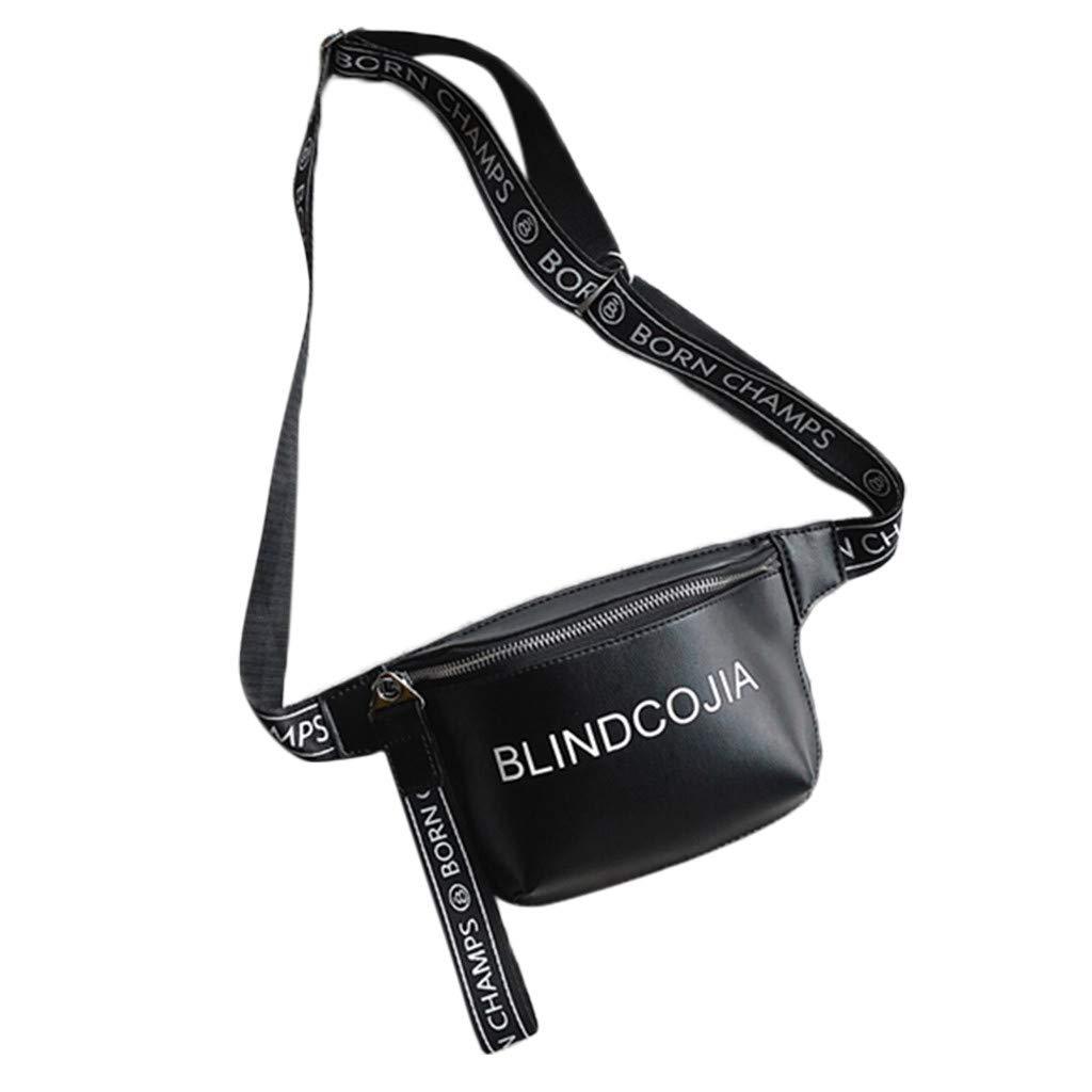 Adagod Portable Purse Bag Casual Belt Handbag with English Letters Small, Purple Unisex Waist Bag