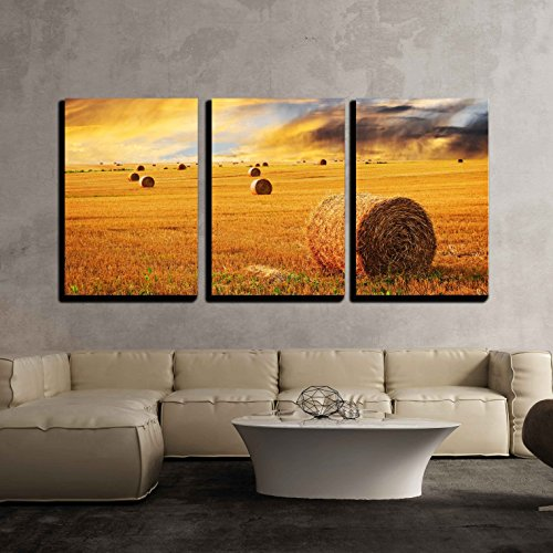 Golden Sunset over Farm Field with Hay Bales x3 Panels