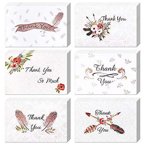 Thank You Cards-12-Count Thank You Notes Golden Envelopes Greeting Cards-Six Designs Blank on the Inside-4x6 Size (12)