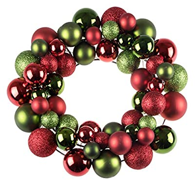 """Clever Creations Christmas Ornament Wreath Bright Red & Green 