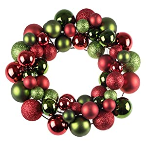 """Clever Creations Christmas Ornament Wreath Bright Red & Green   Festive Holiday Décor   Classic Theme   Lightweight Shatter Resistant   Great for Indoor/Outdoor Use   12"""" Diameter 14"""