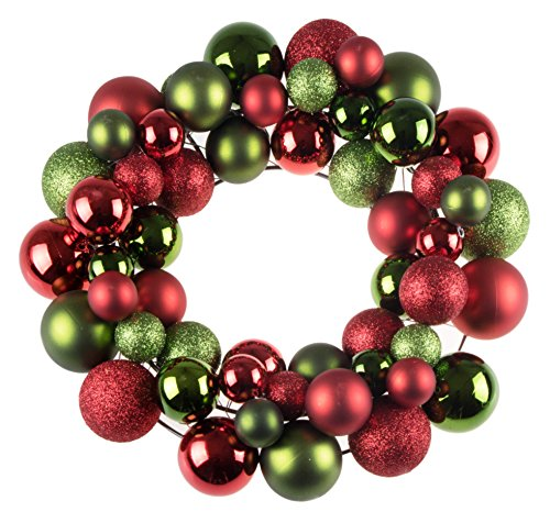 Christmas Ornament Wreath by Clever Creations | Bright Red & Green | Festive Holiday Décor | Classic Theme | Lightweight Shatter Resistant | Great for Indoor/Outdoor Use | 12