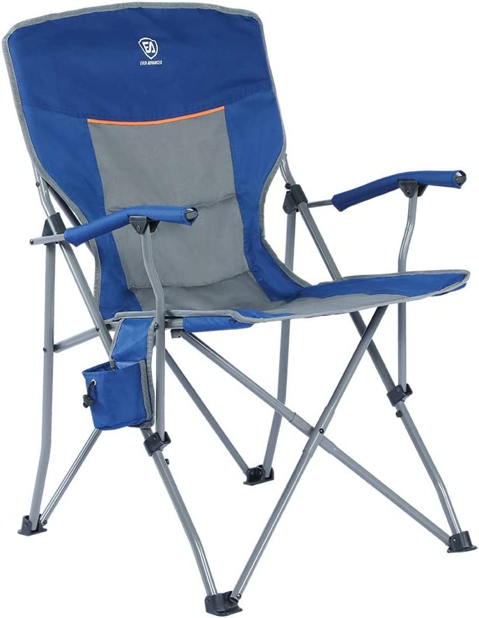 Ever Advanced Foldable Camping Chair Padded Arm Chair Collapsible Steel Frame Heavy Duty Supports 300 Lbs Kitchen Dining