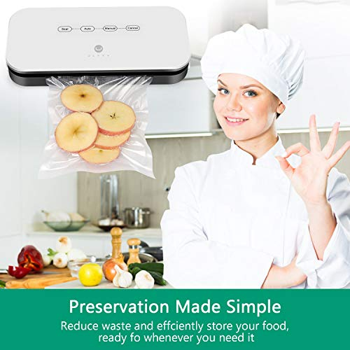Vacuum Sealer Machine by ULTTY   Designed for Airtight Food Storage and Sous Vide Cooking   Included Starter Bags, Suction-hose for Containers   CR09 White