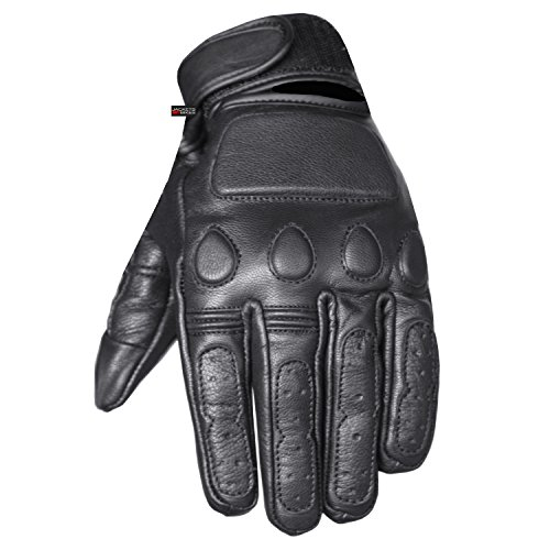 - New Vintage Mens Leather Cruiser Protective Motorcycle Riding Racing Gloves L