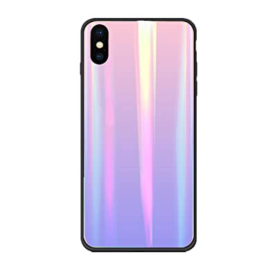 Alsoar Colorido Funda Compatible para Galaxy S10E/G970/S10 Lite Vidrio Templado 9H Aurora Gradient Marmol Cristal Anti-Rasguño Protectora Carcasa Bordes de Silicona TPU Bumper Caso Case(Rosa Morada): Electrónica