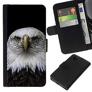 EJOY---Tirón de la caja Cartera de cuero con ranuras para tarjetas / LG Nexus 5 D820 D821 / --Hermoso Águila Falcon Hawk