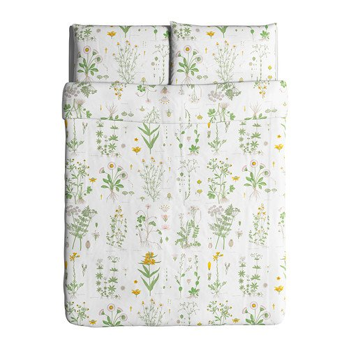 Ikea Strandkrypa Duvet Cover and Pillowcases, Full/Queen, White (Duvet Covers Pillowcase)