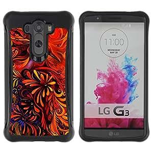 Fuerte Suave TPU GEL Caso Carcasa de Protección Funda para LG G3 / Business Style Floral Art Red Vibrant Bright