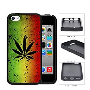 Jamaica Flag with Marijuana Plant Green Yellow and Red Hard Rubber TPU Phone Case Cover iPhone 5c