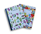 Cactus and Treats Patterned Wide Ruled 100 Sheets Composition Notebooks - (Pack of 2)