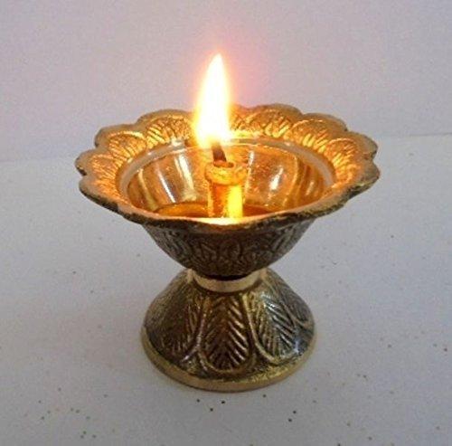 Artcollectibles India Brass Diya Deepak Akhand Jyot Kuber Hindu Temple Havan Puja Religious Oil (Religious Accessories)