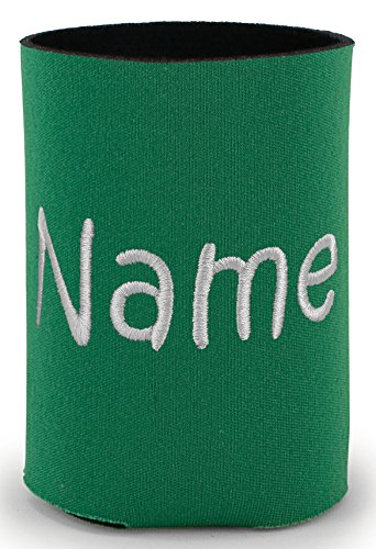 Personalized Kelly Green Can Cooler with Embroidered Name -