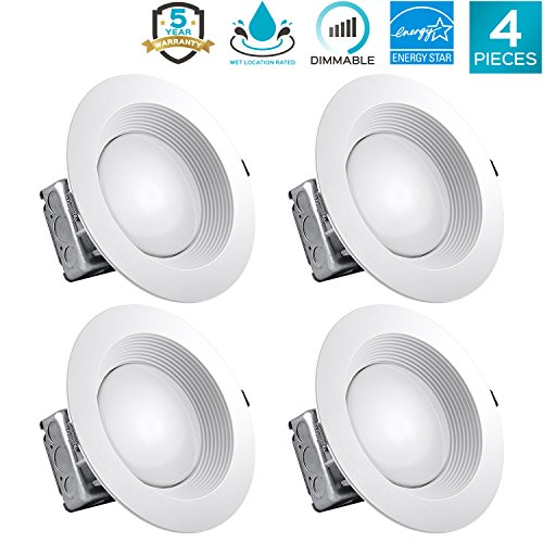 Ic White Baffle Sloped Trim - Luxrite 8 Inch LED Recessed Lighting Kit with Junction Box, 25W, 5000K Bright White, Dimmable LED Downlight, 2000lm, 120V-277V, Airtight & IC Rated, Wet Location, ETL and Energy Star (4 Pack)
