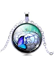 Jiayiqi Women Colorful Butterfly Theme Necklace Charming Glass Cabochon Pendant Necklace
