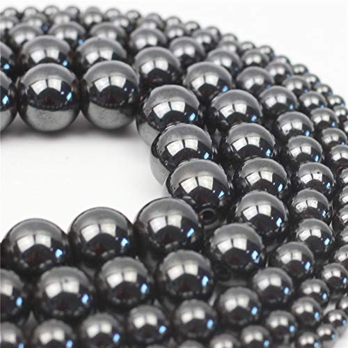 Oameusa 8mm Natural Black Magnetic Hematite Beads Round Beads Gemstone Beads Loose Beads Agate Beads for Jewelry Making 15