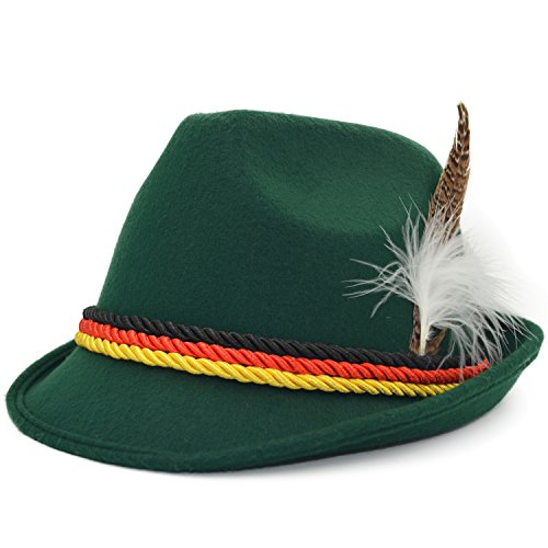 Melesh Green Adult Felt German Alpine Bavarian Oktoberfest Hat Cap (M)]()