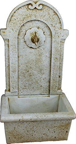DEGARDEN Fuente de Pared para Jardín o Exterior de hormigón-Piedra Artificial | Fuente de Agua de hormigón-Piedra 50 x100cm. | Fuente Exterior con Grifo Color Ocre: Amazon.es: Jardín