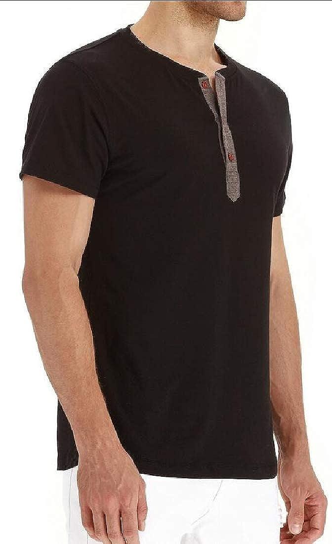 Qiangjinjiu Men Lightweight Basic Tee Casual Slim Fit Short Sleeve Henley T-Shirt