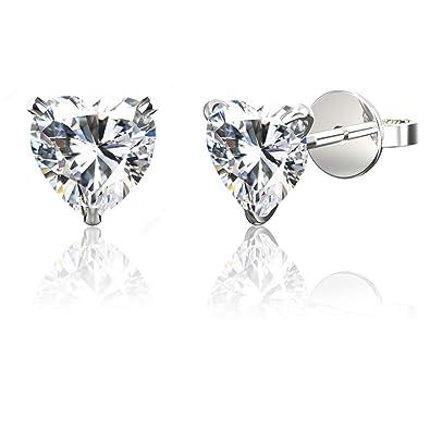 78e4cb01f3cbe .925 Sterling Silver Hypoallergenic Black, White, Amethyst, Citrine,  Garnet, Pink Cubic Zirconia Stud Earrings, Round Brilliant, Princess,  Heart, ...
