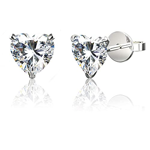 adaf877f3 .925 Sterling Silver Hypoallergenic Cubic Zirconia Heart Shape Stud Earrings,  10mm