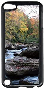 Autumn Fall Mountain Stream Black Plastic Decorative iPod iTouch 5th Generation Case