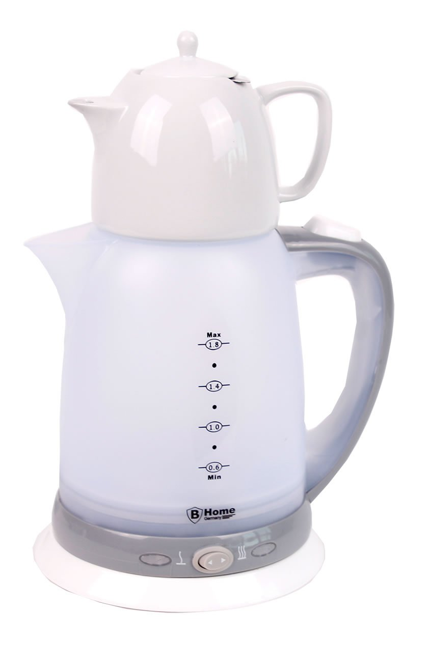 Elektrischer Teekocher mit Keramik Kanne (1,8 L. & 0,8 L.) - 2200 Watt BHome Germany