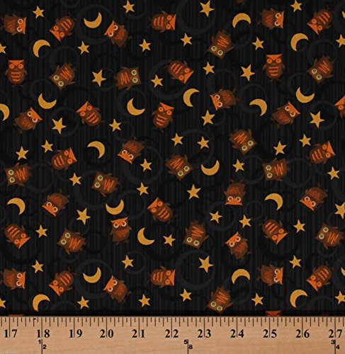 (Cotton Owls Birds Stars Crescent Moons Circles Black Night Sky Halloween Scaredy Cats Animals Kids Cotton Fabric Print by the Yard)