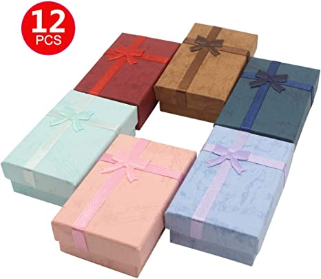 12PCS Cardboard Jewelry Gift Boxes For Necklaces Earrings Rectangle Mixed Color