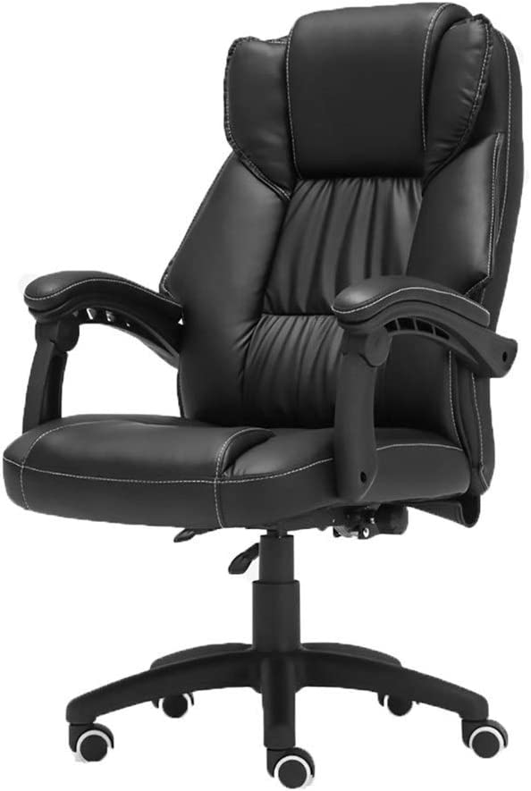 オフィスチェア 人間工学に基づいたオフィスコンピューターチェア、オフィスエッセンシャル、コンピューターチェア、家庭用PUレザーリフティング、リクライニングオフィスチェア、スイベルチェアブラック WXIFEID (Color : Black)