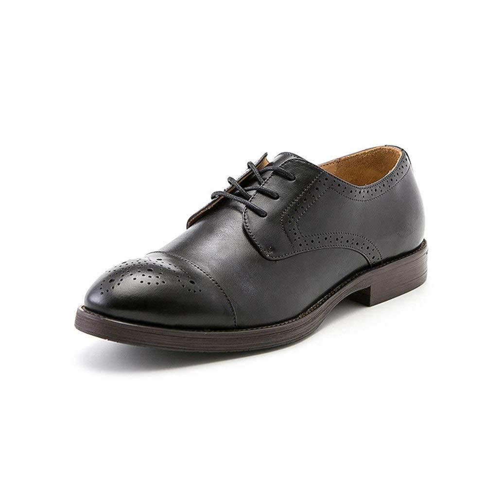 90847caf209 Men's shoes Breathable Retro Handmade shoes menHandmade Men's Leather shoes  Brock Carved Business (color Black