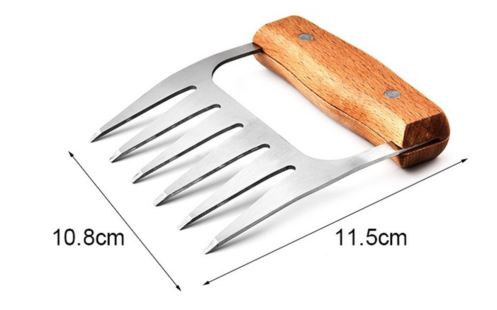 BBQ Meat Claws -304 Stainless Steel Meat Claws with Wooden Handle, Best Meat Claws for Shredding, Pulling, Handing, Lifting & Serving Pork, Turkey, Chicken, Brisket (18/8 Stainless Steel) Tusong TLE8918