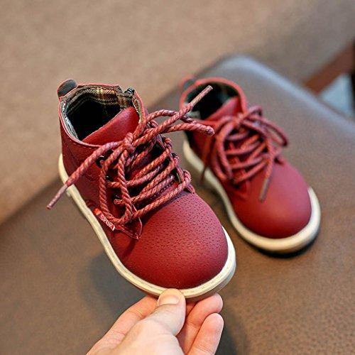 Hunpta Kinder Mode Jungen Mädchen Martin Sneaker Stiefel schnüren sich oben Kinder Baby Freizeitschuhe Rot