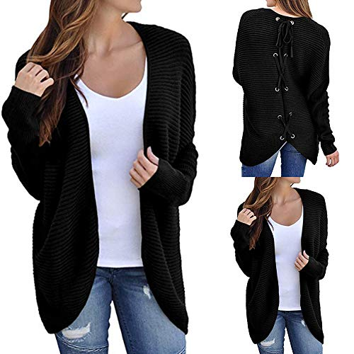 Sweater Cardigans Baigoods Women's Ribbed Knit Open Front Back Lace up Outwear -