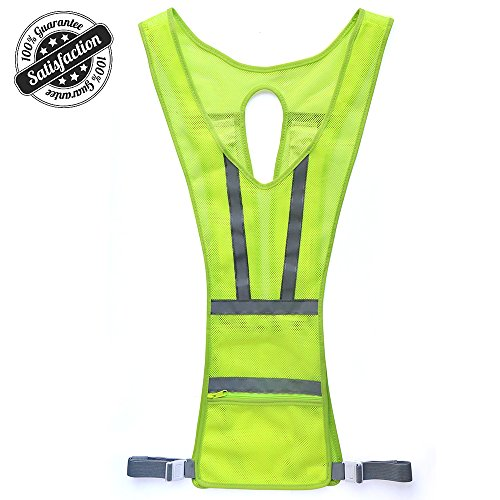 Reflective Vest, Safety Light Running Reflective Gear Vest, Night Safety High Visibility Reflector with Pocket Adjustable, Lightweight, Weatherproof Gear For Jogging & Cycling by Higo- Green Vertical (Lights Safety Vests)