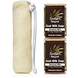 Rosemary Mint - All Natural Handmade Goat Milk Soap - For Psoriasis, Eczema & Dry Sensitive Skin. Gentle Face Soap, Hand Soap or Body Soap. For Men, Women and Kids. 2 Bar Pack/Bonus Soap Sock.